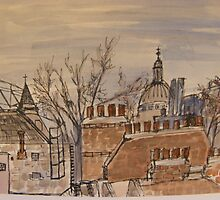 FAMOUS ROOFS OF LONDON UK 1 st pauls from the london window perspective  by Tuartkatz