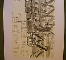 FAMOUS ROOFS OF LONDON UK 3 Lloyds building from street level  by Tuartkatz
