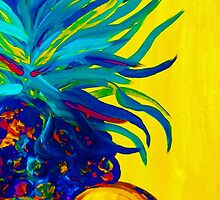Blue Pineapple Abstract by EloiseArt