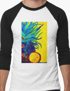 Blue Pineapple Abstract Men's Baseball ¾ T-Shirt