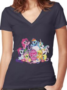 My Little Pony Mane6 and Logo Women's Fitted V-Neck T-Shirt