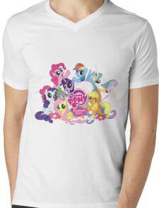 My Little Pony Mane6 and Logo Mens V-Neck T-Shirt