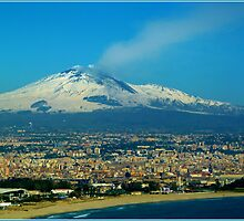 Catania. Beach, City and Etna by Janone
