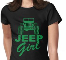 Jeep Girl Green Womens Fitted T-Shirt