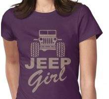Jeep Girl Brown Womens Fitted T-Shirt