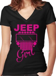 Jeep Girls  Women's Fitted V-Neck T-Shirt