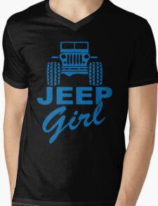 Jeep Girl Blue Mens V-Neck T-Shirt