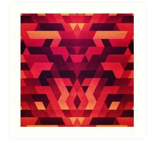 Abstract  geometric triangle texture pattern design in diabolic future red Art Print