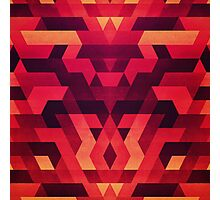 Abstract  geometric triangle texture pattern design in diabolic future red Photographic Print