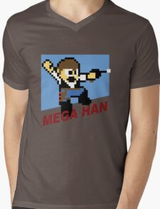 (MegaMan Shirt) Mega Han Shirt 8-bit Mens V-Neck T-Shirt