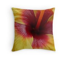 Yellow & Red Hibiscus Flower Throw Pillow