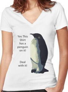Deal With It! Penguin! Women's Fitted V-Neck T-Shirt