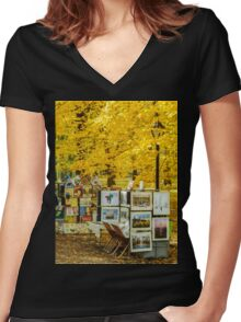 Autumn in Central Park, Study 3 Women's Fitted V-Neck T-Shirt