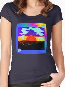 Vaporwave-Nostalgia Ocean Women's Fitted Scoop T-Shirt