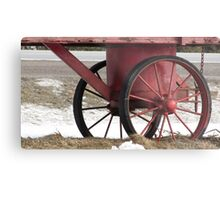 Red Wagon Wheels Metal Print