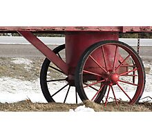 Red Wagon Wheels Photographic Print