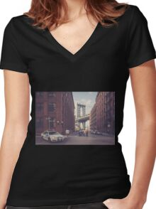 Another Day In Dumbo Women's Fitted V-Neck T-Shirt