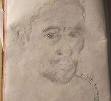 Self-portrait -(040312)- graphite stick/A4 sketchbook by paulramnora