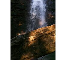 Light on Rock with Waterfall Photographic Print