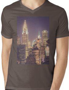 Chrysler Building Dusk Mens V-Neck T-Shirt
