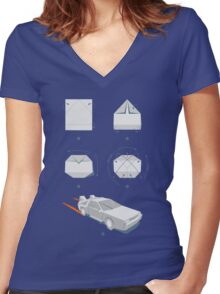 Origami DeLorean Women's Fitted V-Neck T-Shirt