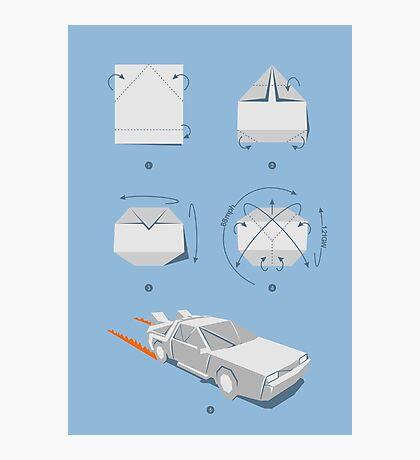 Origami DeLorean Photographic Print