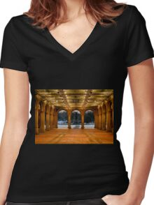 Bethesda Arcade Snow Women's Fitted V-Neck T-Shirt