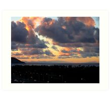 Sunset - looking back toward Molokai, Maui, and the Big Island Art Print