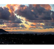 Sunset - looking back toward Molokai, Maui, and the Big Island Photographic Print