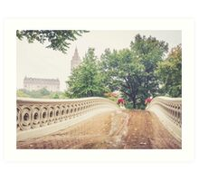 Rainy On Bow Bridge Art Print