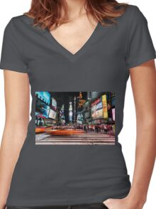 Times Square  Women's Fitted V-Neck T-Shirt