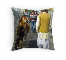 Holy Cows crossing the bridge in India. Throw Pillow