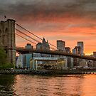 Sunset Over Brooklyn Bridge by Randy  LeMoine