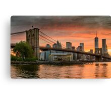 Sunset Over Brooklyn Bridge Canvas Print