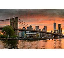 Sunset Over Brooklyn Bridge Photographic Print