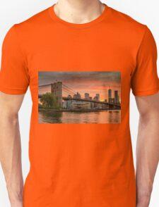 Sunset Over Brooklyn Bridge T-Shirt