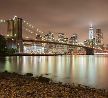 Brooklyn Bridge at Dusk by Randy  LeMoine