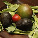 Avocado, pear, mango, tulip leaves by Jay Reed