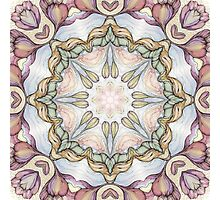 purple flowers hand drawn and kaleidoscope mandala Photographic Print
