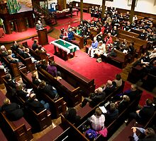 0283  Preparing for the Sydney Alliance Meeting by Pitt Street  Uniting Church, Sydney