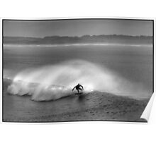 Surfing B&W Poster
