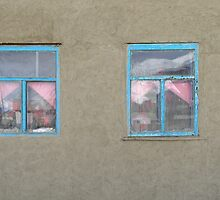 Glass, plastic and pink curtains by Marjolein Katsma