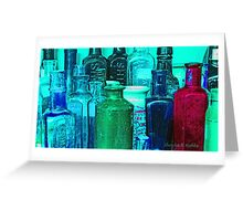 Antique Glass Bottles Greeting Card