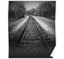 A walk in the woods by tracks..Metal on metal Poster