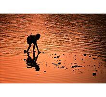Sunset river boy. Photographic Print