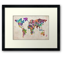 Typography Text Map of the World Map Framed Print