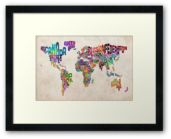 Typography Text Map of the World Map by Michael Tompsett
