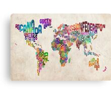 Typography Text Map of the World Map Metal Print