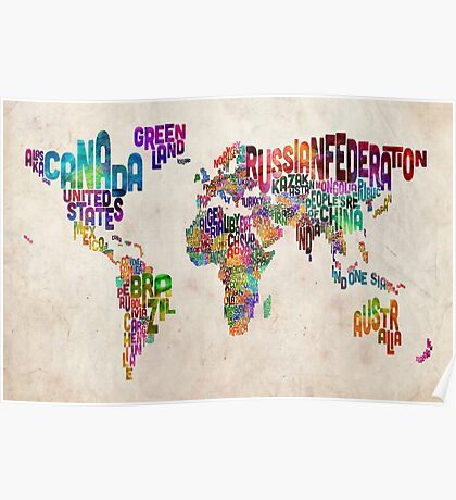 Typography Text Map of the World Map Poster