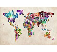 Typography Text Map of the World Map Photographic Print